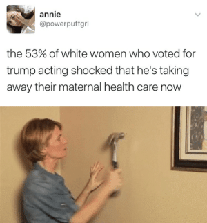 Tumblr, Annie, and Blog: annie  @powerpuffgrl  the 53% of white women who voted for  trump acting shocked that he's taking  away their maternal health care now weavemama: ☕️☕️☕️☕️☕️☕️