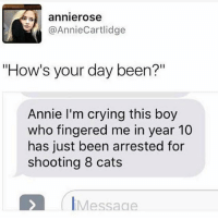 "Cats, Crying, and Ironic: annierose  @AnnieCartlidge  ""How's your day been?""  Annie I'm crying this boy  who fingered me in year 10  has just been arrested for  shooting 8 cats  IMessage"