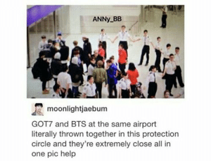 "Aww they look like lost puppies in a pen! And security officers look cute holding hands making a barrier like ""we must protect the puppies!!!"": ANNY BB  moonlightjaebum  GOT7 and BTS at the same airport  literally thrown together in this protection  circle and they're extremely close all in  one pic help Aww they look like lost puppies in a pen! And security officers look cute holding hands making a barrier like ""we must protect the puppies!!!"""