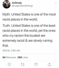 Memes, Racism, and United: AnOmaly  @LegendaryEnergy  Myth: United States is one of the most  racist places in the world  Truth: United States is one of the least  racist places in the world, yet the ones  who cry racism the loudest are  extremely racist & are slowly ruining  that.  9/4/18, 2:06 AM  84 Retweets 289 Likes (GC)