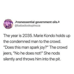 "Government, Joy, and Him: Anonessential government oilsA  @babadookspinoza  The year is 2035. Marie Kondo holds up  the condemned man to the crowd  ""Does this man spark joy?"" The crowd  jeers, ""No he does not!"" She nods  silently and throws him into the pit. Marie Kondo"