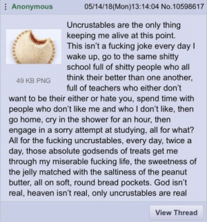meirl by Decklan_R MORE MEMES: Anonymous  05/14/18(Mon)13:14:04 No.10598617  Uncrustables are the only thing  keeping me alive at this point.  This isn't a fucking joke every dayI  wake up, go to the same shitty  school full of shitty people who all  49 KB PNGthink their better than one another,  full of teachers who either don't  want to be their either or hate you, spend time with  people who don't like me and who I don't like, then  go home, cry in the shower for an hour, then  engage in a sorry attempt at studving, all for what?  All for the fucking uncrustables, every day, twice a  day, those absolute godsends of treats get me  through my miserable fucking life, the sweetness of  the jelly matched with the saltiness of the peanut  butter, all on soft, round bread pockets. God isn't  real, heaven isn't real, only uncrustables are real  View Thread meirl by Decklan_R MORE MEMES