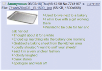 """4chan, Baked, and Cute: Anonymous 06/02/16 (Thu)16:12:58 No. 7741167 227741207  File  71wnAZ60iCS, SL1500 jpg (55 KB, 1500x668)  >Used to live next to a bakery  >Fell in love with a girl working  there  Wanted to be cute for her and  ask her out  Thought about it for a while  >Ended up marching into the bakery one morning  >Grabbed a baking sheet from the kitchen area  >Loudly shouted """"i want to sniff your sheets  said it in a very unclear fashion  nobody laughed  blank stares  apologise and walk off Anon falls in love with a Baker"""