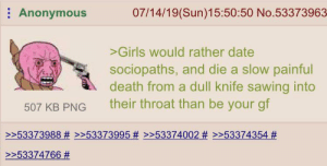 Girls, Anonymous, and Date: Anonymous  07/14/19(Sun)15:50:50 No.53373963  >Girls would rather date  sociopaths, and die a slow painful  death from a dull knife sawing into  their throat than be your gf  507 KB PNG  >>53373988 # >>53373995 # >>53374002 # >>53374354 #  >>53374766 On a thread about Bianca Devins's murder. And then they wonder why no one dates them? 🤔🤔🤔