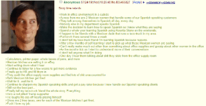 Anon learns spanish: Anonymous 07/24/19(Wed)18:26:40 No.805455827 Reply] 805456614>805457442  Story time retards.  Work in office environment in a cubicle  >Across from me are 2 Mexican women that handle some of our Spanish speaking customers  >They talk among themselves in Spanish all day, every day.  del in my department speaks Spanisch so I know what they are saying  >M  Spend a whole year learning Spanish using Rosetta Stone on the weekends.  >I happen to be friends with a Mexican dude that runs a taco-truck in my area.  >Eat lunch there several times a week  >I don't tell my taco-truck friend I'm learning Spanish because reasons.  >After a few months of self-learning I start to pick up what these Mexican women are saying  >Can't really make much out other than something about office supplies and gossip about other women in the office  >As the months tick on I start to understand more of their conversations  I don't tell anyone what I'm doing  >One day I hear them talking about shit they stole from the office supply room  >Calculators, printer paper, whole boxes of pens, and more  >Mexican bitches are selling it on eBay  >Start writing down what I hear  >Continue to listen for a few weeks to get more evidence  >Finally go to HR and fill them in  hitch upply room supplies and find lots of shit unaccounted for  get fired  е  Both dit the  Wait for it...wait for it.  Continue to sharpen my Spanish speaking skills and get a pay raise because I now handle our Spanish speaking clients  >Still not the best part.  Finally tell my taco-truck friend the whole story. Everything  He's a red pilled Trump supporter  >He laughs his ass off nearly pissing himself  >Gives me 2 free tacos, one for each of the Mexican bitches I got fired.  >Fuck I love my job.  (0 Anon learns spanish