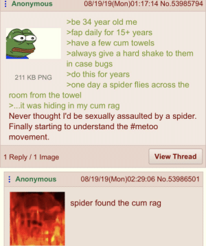 Cum, Spider, and Anonymous: Anonymous  08/19/19(Mon)01:17:14 No.53985794  >be 34 year old me  >fap daily for 15+ years  >have a few cum towels  >always give a hard shake to them  in case bugs  >do this for years  211 KB PNG  >one day a spider flies across the  room from the towel  >...it was hiding in my cum rag  Never thought I'd be sexually assaulted by a spider.  Finally starting to understand the #metoo  movement.  1 Reply 1 Image  View Thread  Anonymous  08/19/19(Mon)02:29:06 No.53986501  spider found the cum rag Anon sees a spider