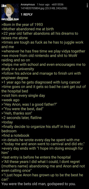 "I got it on r/greentext hope you like it (:: Anonymous 1 hour ago 46515536  1474820705804.jpg (23.3 KB , 242x206)  like  1 REPLY  ears in Rain, Scoo  >Born in the year of 1993  >Mother abandoned me at birth  >22 year old father abandons all his dreams to  raises me alone  >times are tough as fuck as he has to juggle work  and me  whenever he has free time we play vidya together  >we move from old nintendo and shit to WoW  raiding and so on  >helps me with school and even encourages me to  study in a university  >follow his advice and manage to finish uni with  engineer degree  >1 year ago he gets diagnosed with lung cancer  >time goes on and it gets  the hospital bed  >visit him every single day  week ago  bad he cant get out of  SO  >""Hey Anon, was I a good father?""  >""You were the best, dad""  >""Heh, thanks son""  >2 seconds later, flatline  >today  >finally decide to organize his stuff in his old  bedroom  >find a notebook  >in details he wrote every day he spent with me  >""today me and anon went to carnival and did etc.""  every day ends with ""I hope im doing enough for  him""  >last entry is before he enters the hospital  ""All these years I did what I could, I dont regret  (mothers name) abandoning me and Anon and not  even calling once""  ""I just hope Anon has grown up to be the best he  can""  You were the bets old man, godspeed to you. I got it on r/greentext hope you like it (:"