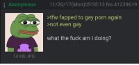 Tfw, Anonymous, and Fuck: Anonymous 11/20/17(Mon)05:55:13 No.41239619  tfw fapped to gay porn again  not even gay  what the fuck am I doing?  14 KB JPG