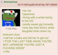 """meirl: Anonymous  12/11/18(Tue)20:44:40 No.787152545  >be me  Sjapanese  living with a white family  in the US  >pretty sweet gig honestly  11 KB PNG one day their bitchy white  daughter kicks down my  bedroom door  >call her a baka and tell her to get out  """"FOR THE LAST TIME ANON YOU'RE  NOT JAPANESE YOU'RE JUST A  FUCKING WEEB""""  >mfw meirl"""
