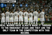 Memes, Real Madrid, and Anonymous:  #ANONYMOUS  arm dna EL, www.realmadriddna com  @Real Madrid.DNA  @official m dna  EENZEMA  BALE  KR005  ALONSO  ARVAJAL  REAL MADRID HAVE ALWAYS MADE IT THROUGH  TO THE KNOCKOUT STAGE AND THEY ARE THE  ONLY TEAM IN THE COMPETITION WITH THIS  RECORD. Just Real Madrid Things   #Anonymous7