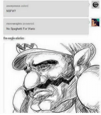 So that's what NSFW means...: anonymous asked  NSFW?  moreweights answered:  No spaghetti For Wario  the eagle atariano So that's what NSFW means...