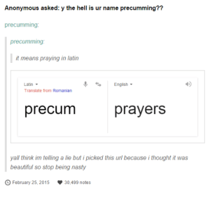 Stop being nastyomg-humor.tumblr.com: Anonymous asked: y the hell is ur name precumming??  precumming:  precumming:  it means praying in latin  English  Latin -  Translate from Romanian  precum  prayers  yall think im telling a lie but i picked this url because i thought it was  beautiful so stop being nasty  February 25, 2015  30,499 notes Stop being nastyomg-humor.tumblr.com