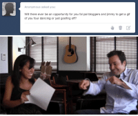 Dancing, Gif, and Party: Anonymous asked you:  Will there ever be an opportunity for you fal pal bloggers and jimmy to get a gif  of you four dancing or just goofing off? <p>Haha sure! Here&rsquo;s Marina and Jimmy taking a break to <b>Funkin&rsquo; Gonuts</b> while filming an Ask Jimmy. We&rsquo;ll try to get a bigger dance party going sometime soon.</p>