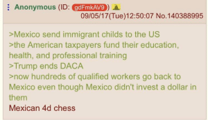 American, Anonymous, and Chess: : Anonymous (ID: @BEORANO) A.  gdFmkAV9  09/05/17(Tue)12:50:07 No.140388995  >Mexico send immigrant childs to the US  >the American taxpayers fund their education,  health, and professional training  >Trump ends DACA  >now hundreds of qualified workers go back to  Mexico even though Mexico didn't invest a dollar in  them  Mexican 4d chess Anon discovers Mexicos plan