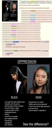 "4chan, Asian, and Bad: [ ] Anonymous (ID:  qJx9GWp0)  08/05/18(Sun)19:50:31 No  OPPRESSION  181295843 32181298543 2181297285 181297805 181298784  why do asians say they are oppressed?  when they are so much more privileged than black people?  Anonymous (ID: MHzBBpso)08/05/18(Sun)19:54:33 No  Anonymous (ID: vetdYAEE 08/05/18(Sun)19:55:04 No.1  Anonymous (ID: EkGPYy4s) 08/05/18(Sun)20:03:39 No  Anonymous (ID:GMEMUS) 08/05/18(Sun)20:05:16 No  Anonymous (ID: Morte ) 08/05/18(Sun)20:06:27 No.  Anonymous (ID: Ebp7LH) 08/05/18(Sun)20:08:02 No.1  BLACK  ASIAN  ,  See the difference?  Anonymous (IDKmj5bzy) 08/05/18(Sun)20:08:50 No.181294093  Anonymous (ID: Reeve) 08/05/18(Sun)20:10:23 No.181294235  Anonymous (ID: UAOrmjMp)08/05/18(Sun)20:13:33 No. 181294524  Anonymous (ID: EtpLH) 08/05/18(Sun)20:13:41 No.181294534  Anonymous (ID: T7Lurbw1 )-| 08/05/18(Sun)20:13:52 No.181294554  Anonymous (ID: u2h/iFoo3)08/05/18(Sun)20:20:09 No. 181295121  Anonymous (ID: PEh5arFR) 08/05/18(Sun)20:21:05 No.181295225  Anonymous (ID qJx9GWp 08/05/18(Sun)20:22:22 No. 181295339  Anonymous (ID: MY5kDP1S) 08/05/18 (Sun)20:22:46 No.181295380181295878  181292454 (OP)  -standford  Too bad she couldn't get into Hardvard  Anonymous (ID: Ih1w5AP8)08/05/18(Sun)20:25:53 No.181295676181298571  181295380  Or Yadle   OPPRESSION  BLACK  ASIAN  cant walk the street without fear 'People think I'm smart""  of getting shot by police  discriminatory hiring practices"" dont know which high paying job  live off minimum wage  rundown public school  institutional racism  slavery  economic in equality  poor neighbourhood  malnutrition  segregation  gun violence  ""White men find me attractive""  to choose from""  I had to settle for Standford""  See the difference? Are Asians really oppressed?"