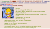 """4chan, Chill, and Family: Anonymous (ID: Tzi8tY [4]) 10/12/16 (Wed)13:39:13 No.92591501 2e92591545  9259 1630 92591640 92591679 92591780 92592109 >>92592180 >>92595443 >>92595932  92598143  follower(10)  File: homer smile  ng (550 KB, 597x598)  >be me  at university, pretty chill so far  sin politics lecture with around 200-300 other students  >sat near the front  lecturers asks """"hands up if you would vote Trump if you  could""""  confidentially put hand up  hear murmuring  """"ahhh good nobody wou- oh there is one person!""""  hear someone gasp  realise i'm the only one with my hand up  murmuring intensifies  hundreds of people staring at me like i just killed their entire family  >mfw i realise i'm surrounded by cucks for the next 3 years"""