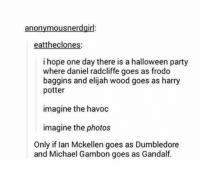 ~Kingslayer Your Tumblr Dealer  Checkout : Pokémon GO: anonymous nerdgirl  eattheclones:  i hope one day there is a halloween party  where daniel radcliffe goes as frodo  baggins and elijah wood goes as harry  potter  imagine the havoc  imagine the photos  Only if Ian Mckellen goes as Dumbledore  and Michael Gambon goes as Gandalf. ~Kingslayer Your Tumblr Dealer  Checkout : Pokémon GO