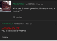 Anonymous: Anonymous  No 650874504 1 hour ago  what are 5 words you should never say to a  woman?  52 replies  Anonymous No 650874626 1 hour ago  650874504 (OP)  you look like your mother  1 reply