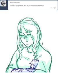 Target, Tumblr, and Grandpa: Anonymous said:  0 what's nyo germania like? do you have a design for her? ask-art-student-prussia:  heres the design on my aph rome blog btw