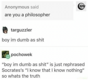 "me_irl: Anonymous said  are you a philosopher  targuzzler  boy im dumb as shit  pochowek  ""boy im dumb as shit"" is just rephrased  Socrates's ""I know that I know nothing""  so whats the truth me_irl"