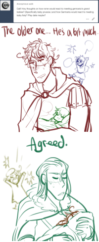 aph-grandpa:  theyre baby sitting for each other: Anonymous said:  Cali!! Any thoughts on how rome would react to meeting germania's grand  babies? (Specifically baby prussia-) and how Germania would react to meeting  baby Italy? Play date maybe?   The ode one tHes b   Agree aph-grandpa:  theyre baby sitting for each other
