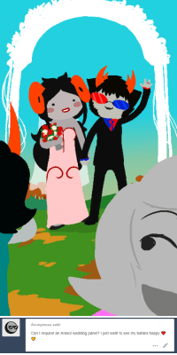 Target, Tumblr, and Anonymous: Anonymous said:  Can I request an Arasol wedding panel? I just want to see my babies happy homestuckspritesandstuff:  LET THEM BE HAPPY THANKS…………………..~ mod roxy