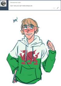 Target, Tumblr, and Anonymous: Anonymous said:  Can I see your aph wales design pls ask-art-student-prussia:  Sure, here's my tag of him also i posted this on my main blog here, if you want to reblog without the ask