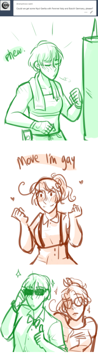 Lesbians, Lmao, and Target: Anonymous said:  Could we get some Nyo! Gerlta with Femme! Italy and Butch! Germany, please?   hole lin gy  im a ask-art-student-prussia:  geniusartstuff: oh shoot lmao i have this on my ask blog art in art tag vvvv  thought you should see this