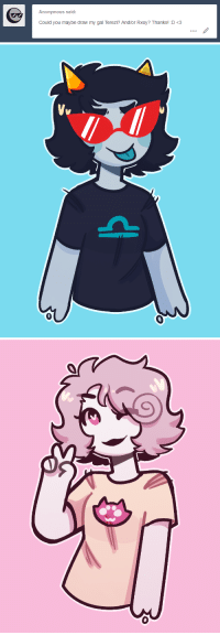 Sorry, Target, and Tumblr: Anonymous said:  Could you maybe draw my gal Terezi? And/or Rxoy? Thanks! D<3 drawthiere:  sorry these aren't fullbody, but i don't wanna draw legs and also i wanted 2 post smth