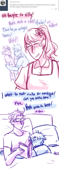 Fire, Anonymous, and Best: Anonymous said  Do Roderich and Gilbert treat eachother any different when they're in a group  with other people, besides being more private?   onteine So silly!  Specs  NGH   want to eat caka for xeakfanst/  Fire.  yovie th best
