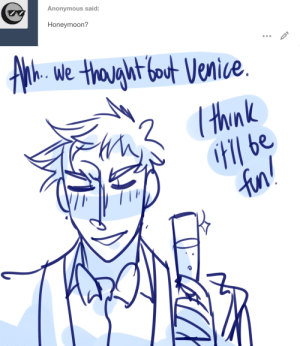 ask-art-student-prussia:  Gilbert: We'll stay a little longer in Vienna!: Anonymous said:  Honeymoon?   Athe we thaght fout Venice.  thnk  H be  fun! ask-art-student-prussia:  Gilbert: We'll stay a little longer in Vienna!