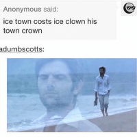 Anonymous, Trendy, and Parks and Rec: Anonymous said:  ice town costs ice clown his  town crown  adumbscotts: Parks and rec😂