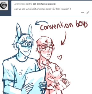 "ask-art-student-prussia:  theyre both super professional as business/econ students, but in their dorm, all they do is play video games and do dress up: Anonymous said to ask-art-student-prussia:  can we see sum sweet Ameripan since you ""lean towards* it   Convention boys ask-art-student-prussia:  theyre both super professional as business/econ students, but in their dorm, all they do is play video games and do dress up"