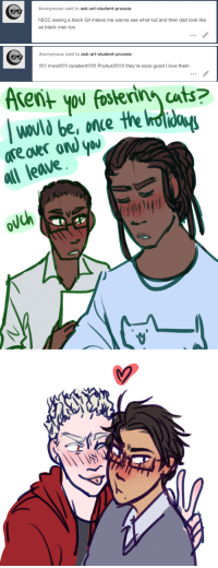 Advice, Cats, and Dad: Anonymous said to ask-art-student-prussia:  hECC seeing a black Gil makes me wanna see what lud and their dad look like  as black men too   Anonymous said to ask-art-student-prussia:  !! more!!!!! racebent!!!!I PruAus!!!!! they're sooo good I love them   Arent you fosterin cats?  once  All leave, ya, ask-art-student-prussia:  reminder that alderich had to give up his foster cats bc gil was coming home for the holidays also thanks for the advice to that last anon