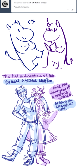 ask-art-student-prussia:  been on my main lately?: Anonymous said to ask-art-student-prussia:  Pruaus but moomins   bubblyernie   This hat is disastrous on Me  YOU Make aternble snufkn  Youre not  that good of  a moomin  youse lf.  At least th  Los tumes are  ate ask-art-student-prussia:  been on my main lately?