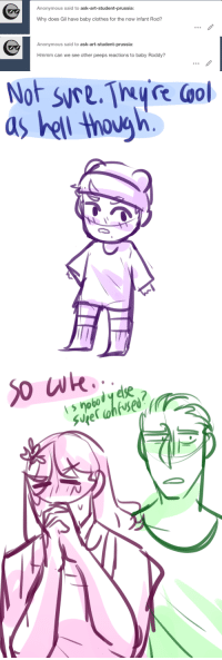 Clothes, Target, and Tumblr: Anonymous said to ask-art-student-prussia:  Why does Gil have baby clothes for the now infant Rod?   Anonymous said to ask-art-student-prussia:  Hmmm can we see other peeps reactions to baby Roddy?   as hell though ask-art-student-prussia:  M/A Finished