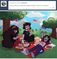Girls, Target, and Tumblr: Anonymous said to drawthiere:  do you think you could draw araneprezi please? thank you in advance!  90 drawthiere:  have some girls on a picnicthis turned out bluh but i hope it's to your liking