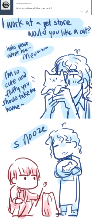 Cute, Hello, and Lol: Anonymous said:  What about Greece? What does he do?   lwork at et store  a ca  Hello plese  adopt me-  cute and  '*  Shovld take m  Ne  ho   22 r  בר  2)  ク ask-art-student-prussia:  The first time I drew him was him as a pet store worker lol