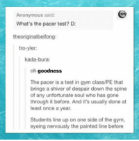 Funny, Gym, and Memes: Anonymous said:  What's the pacer test? D:  theoriginalbeifong:  tro-yler:  kada-bura:  oh goodness  The pacer is a test in gym class/PE that  brings a shiver of despair down the spine  of any unfortunate soul who has gone  through it before. And it's usually done at  least once a year.  Students line up on one side of the gym,  eyeing nervously the painted line before Wow. This test seems horrible. clean cleanfunny cleanhilarious cleanposts cleanpictures cleanaccount funny funnyaccount funnypictures funnyposts funnyclean funnyhilarious