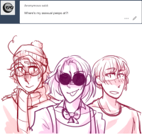 Target, Tumblr, and Anonymous: Anonymous said:  Where's my asexual peeps at?! ask-art-student-prussia:  they boys are here
