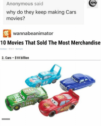 d81a18b4f95c19 Cars, Memes, and Shrek  Anonymous said why do they keep making Cars movies