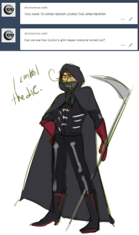 Anonymous, How, and Reaper: Anonymous said:  YOU HAVE TO DRAW SENOR LOVINO THE GRIM REAPER  Anonymous said:  Can we see how Lovino's grim reaper costume turned out?   tkdc.