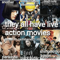 Anime, Assassination, and Facts: another  assassination  eath note  EATH Classroom  A Kate  all have live  action movies  oto tachibana22 I IG  a m  mplark Shingeki no  parasyte bl Which of these animes is your favourite? | Follow @animee for Anime Facts |🔥 . . Credit @makoto_tachibana22