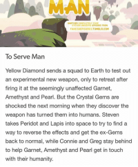 Ex's, Fake, and Memes: ANOTHER COMPLETELY FAKE  STEVEN UNIVERSEEPISODE FROM  FAKESUEPISODESTUMBLR.COM  To Serve Man  Yellow Diamond sends a squad to Earth to test out  an experimental new weapon, only to retreat after  firing it at the seemingly unaffected Garnet  Amethyst and Pearl. But the Crystal Gems are  shocked the next morning when they discover the  weapon has turned them into humans. Steven  takes Peridot and Lapis into space to try to find a  way to reverse the effects and get the ex-Gems  back to normal, while Connie and Greg stay behind  to help Garnet, Amethyst and Pearl get in touch  with their humanity. THIS IS FAKE - But omg if it was real I would have screamed like seriously😭❤ - stevenuniverse memes
