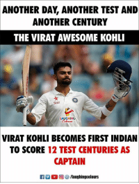 #Virat_Kohli: ANOTHER  DAY, ANOTHER TEST AND  ANOTHER CENTURY  THE VIRAT AWESOME KOHLI  ッ  Star  LAUGHING  VIRAT  KOHLI BECOMES FIRST INDIAN  TO SCORE 12 TEST CENTURIES AS  CAPTAIN  K7 。回參/laughingcolours #Virat_Kohli