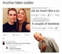"""Memes, Hilarious, and 🤖: Another fallen soldier  ok so much like a co  rs ago . Like . 1 . Rep  A couple of bestiess  4 hours ago Like  Like  Comment  Share  We look so much like a couple here hahahah  4 hours ago . Like . 1 . Reply  A couple of bestiesss  4 hours ago . Like """"山1 . Reply @drgrayfang is a must follow for hilarious memes"""