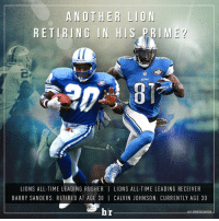 If Megatron decides to retire, he and Barry Sanders will have both retired at age 30. 😳: ANOTHER LION  RETIRING IN HIS  IME  LIONS  LIONS ALL-TIME LEADING RUSHER l LIONS ALL-TIME LEADING RECEIVER  BARRY SANDERS: RETIRED AT AGE 30 I CALVIN JO HNSON: CURRENTLY AGE 30  br  HAT SPORTSCENTER If Megatron decides to retire, he and Barry Sanders will have both retired at age 30. 😳