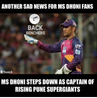 Why Dhoni ? 😢💔: ANOTHER SAD NEWS FOR MS DHONI FANS  BACK  BENCHERS  LYF  Thamizh  MSDHONI STEPS DOWN AS CAPTAIN OF  RISING PUNE SUPERGIANTS Why Dhoni ? 😢💔