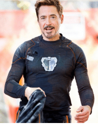 Memes, Marvel, and Arc Reactor: ; Another set photo with RDJ! Looks like he has his arc reactor again. How? Why? TheAvengers AvengersInfinityWar IronMan Marvel RobertDowneyJr