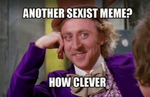 Pretty much my daily reaction to social media, anymore.: ANOTHER SEXIST MEME?  HOW CLEVER Pretty much my daily reaction to social media, anymore.